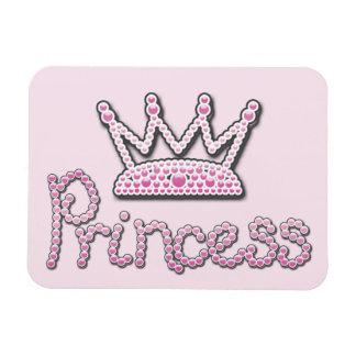 Cute Pink Printed Pearls Princess Crown Rectangle Magnet
