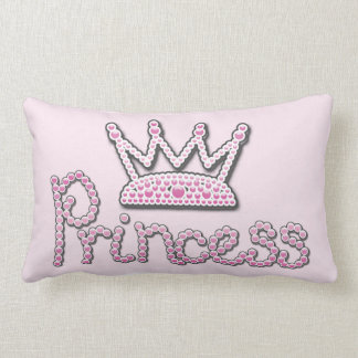 Cute Pink Printed Pearls Princess Crown Throw Pillow