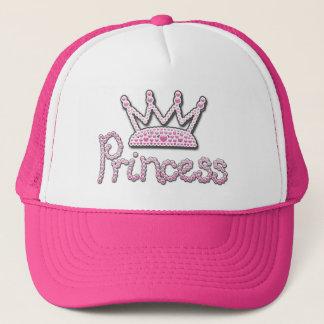 Cute Pink Printed Pearls Princess Crown Trucker Hat
