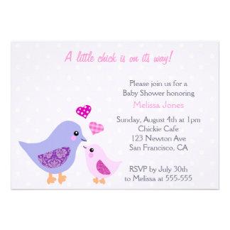 Cute Pink Purple Bird Baby Shower invitation