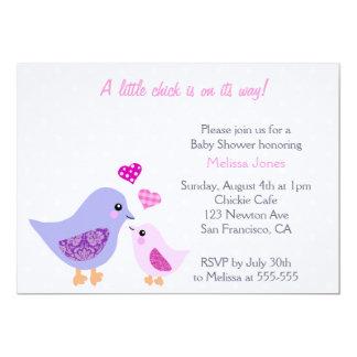 Cute Pink & Purple Bird Baby Shower invitation