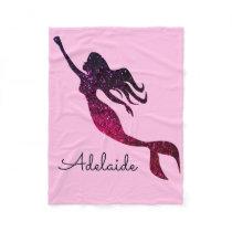 Cute Pink & Purple Mermaid | Personalized Add Name Fleece Blanket