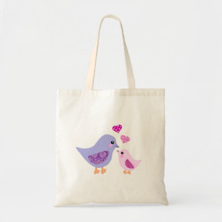 Cute pink & purple mother and child birds canvas bags