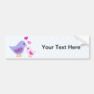 Cute pink & purple mother and child birds bumper stickers