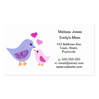 Cute pink & purple mother and child birds business cards