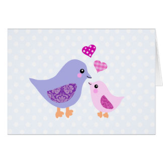 Cute pink & purple mother and child birds card