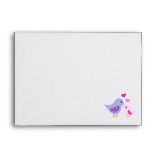 Cute pink & purple mother and child birds envelope