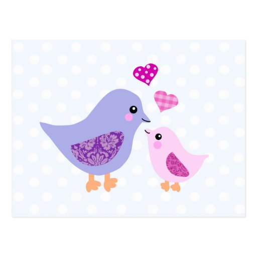 Cute pink & purple mother and child birds postcard