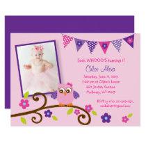 Cute Pink & Purple Owl Birthday Card