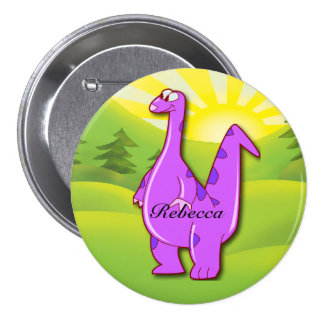 Cute pink purple Personalized Dinosaur Button