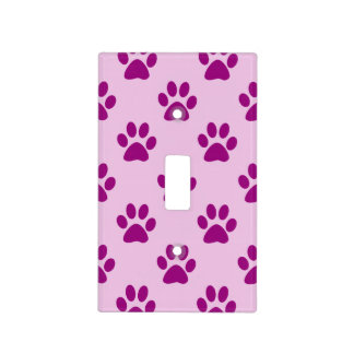 Cute Pink & Purple Puppy Paw Print Pattern Light Switch Cover