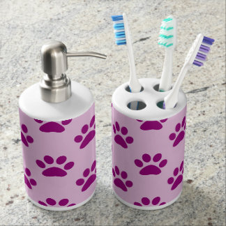 Cute Pink & Purple Puppy Paw Print Pattern Soap Dispenser And Toothbrush Holder