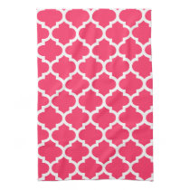 cute pink quatrefoil towels