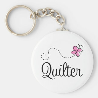 Cute Pink Quilter Gift Keychain