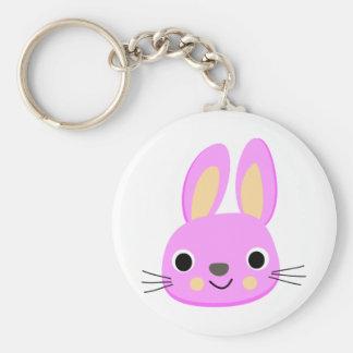 Cute pink rabbit animation illustration keychain