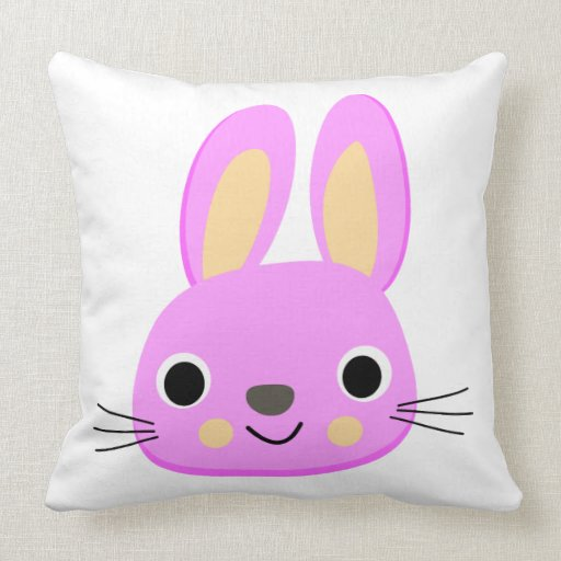 Cute Pillow Illustration : Cute pink rabbit animation illustration throw pillow Zazzle