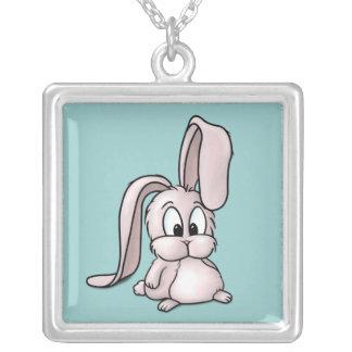 Cute Pink Rabbit Cartoon Square Pendant Necklace