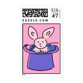 Cute Pink Rabbit In A Hat Stamp