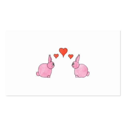 Cute Pink Rabbits with Red Love Hearts. Double-Sided Standard Business Cards (Pack Of 100)