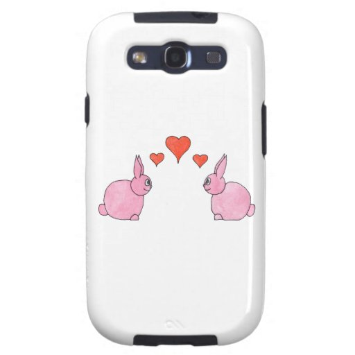 Cute Pink Rabbits with Red Love Hearts. Galaxy S3 Case