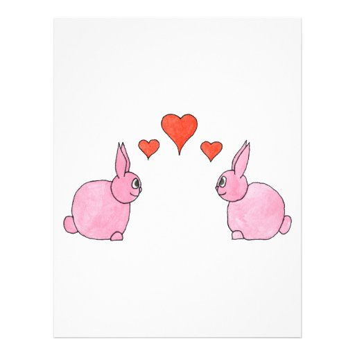 """Cute Pink Rabbits with Red Love Hearts. 8.5"""" X 11"""" Flyer"""