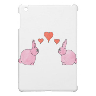 Cute Pink Rabbits with Red Love Hearts. iPad Mini Case
