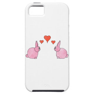 Cute Pink Rabbits with Red Love Hearts. iPhone SE/5/5s Case
