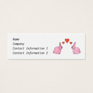 Cute Pink Rabbits with Red Love Hearts. Mini Business Card