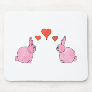 Cute Pink Rabbits with Red Love Hearts Mousepads