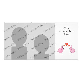 Cute Pink Rabbits with Red Love Hearts. Photo Card