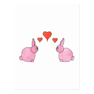 Cute Pink Rabbits with Red Love Hearts. Postcard
