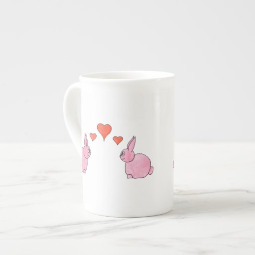 Cute Pink Rabbits with Red Love Hearts. Tea Cup