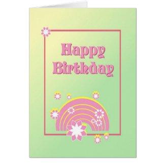 "Cute Pink Rainbow ""Happy Birthday"" Card Cards"