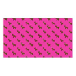 Cute pink reindeer pattern business card template
