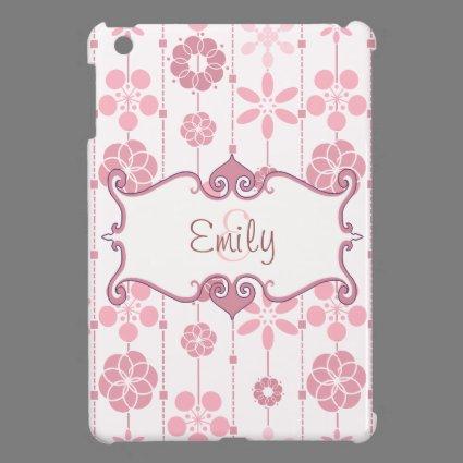 Cute pink retro floral geometric pattern monogram iPad mini covers