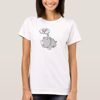 Cute Pink Rhinoceros Love Thought bubble T-Shirt