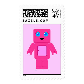 Cute Pink Robot Postage Stamps