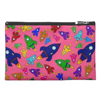 Cute pink rocket ships pattern travel accessory bag