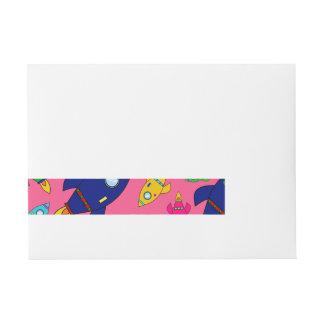 Cute pink rocket ships pattern wraparound address label