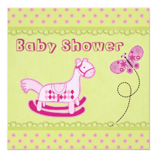 Cute Pink Rocking Horse & Butterfly Baby Shower 5.25x5.25 Square Paper Invitation Card