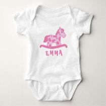 Cute Pink Rocking Horse Name Baby Bodysuit