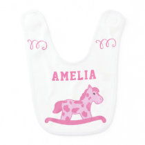 Cute Pink Rocking Horse with Name Baby Bib