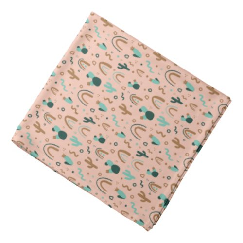 Cute Pink Rose Cactus Patterned Bandana