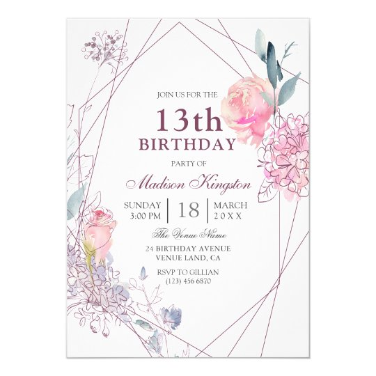 Cute Pink Rose Geometric Girls 13th Birthday Party