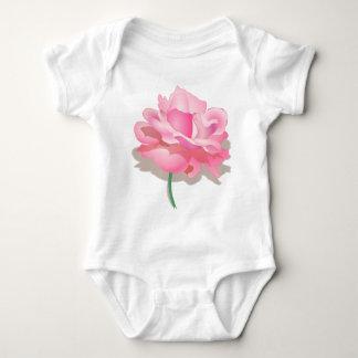 Cute Pink Rose in Full Bloom - Rose Flower Gift Baby Bodysuit