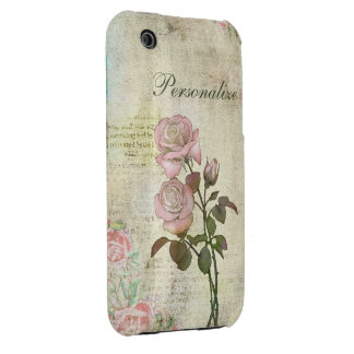 Cute Pink Roses on Vintage Background iPhone 3 Covers