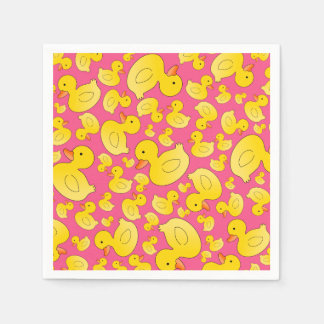 Cute pink rubber ducks paper napkins