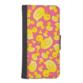 Cute pink rubber ducks iPhone 5 wallet cases