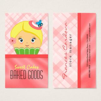 Cute Pink Salmon Blonde Cupcake Baker Bakery Business Card