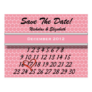 Cute PINK Save the Date Custom Calandar Postcard
